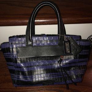 Coach handbag blue and black basket weave design
